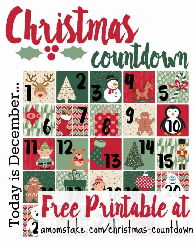 Christmas Countdown Printable - A Mom's Take