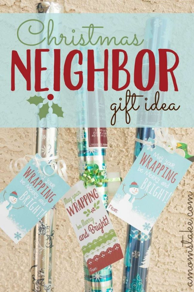 Super easy, unique, and cute neighbor and friend gift idea for Christmas! Grab a festive, foil roll of wrapping paper, tie it up with some ribbon and a roll of tape and add this free printable gift tag.