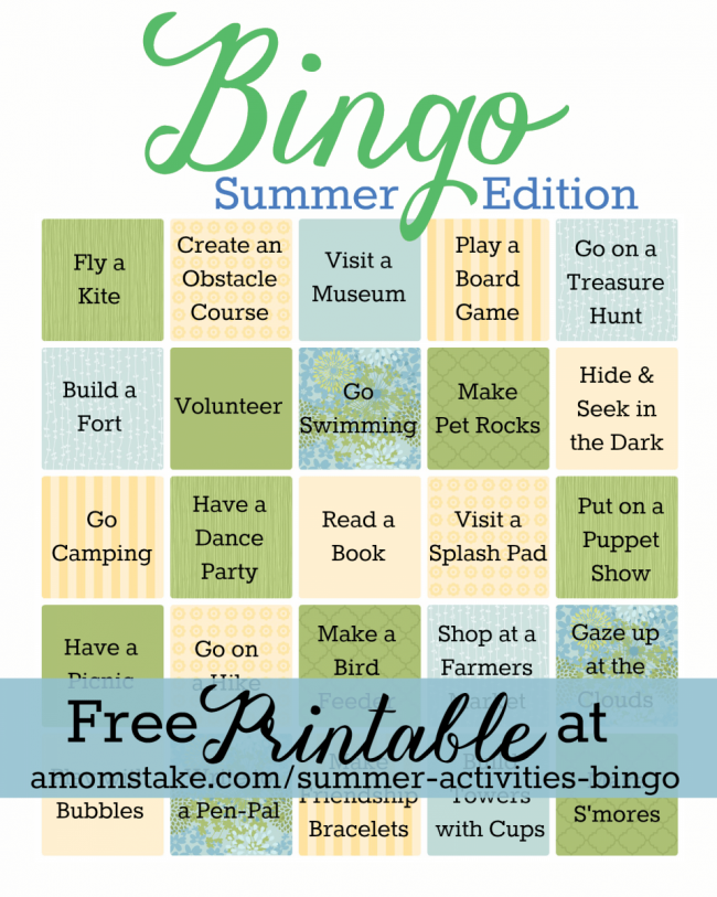Summer Activities Bingo Game