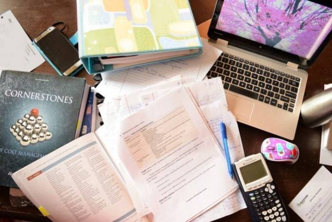 Study tip. Be sure to clear clutter