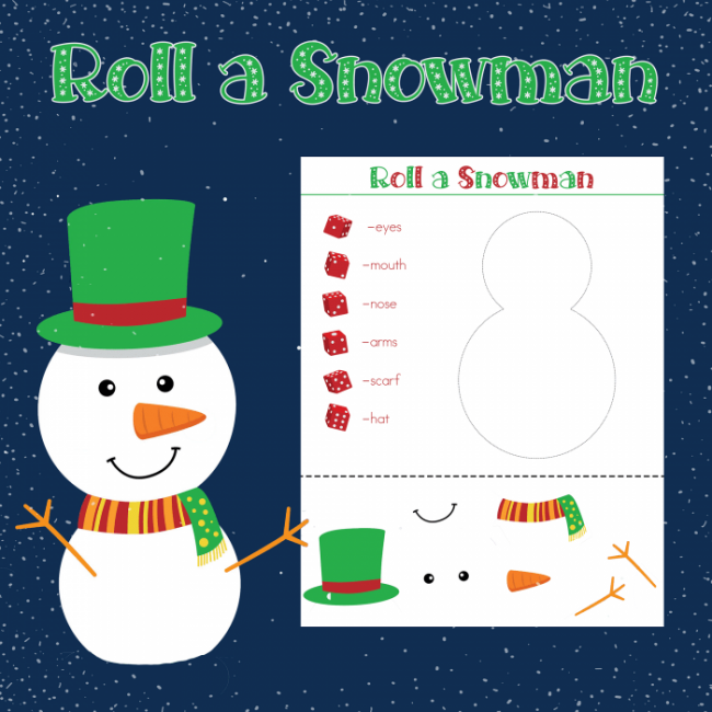 Roll a Snowman Printable Dice Game - A super fun winter activity for kids and families! You always need clean and cheap kids activities when you're stuck indoor!