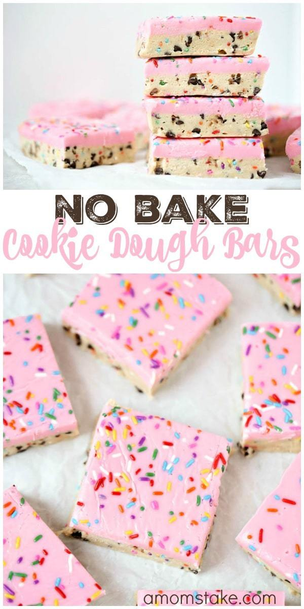 Directions:   Combine brown sugar and softened bugger in a large bowl with a hand mixer until evenly blended.  So delicious, these no bake cookie dough bars are easy to make and no baking required! You'll love this easy cookie bar dessert with sprinkles!  Add in flour, condensed milk, and vanilla extract.  So delicious, these no bake cookie dough bars are easy to make and no baking required! You'll love this easy cookie bar dessert with sprinkles!  Blend on med-high until you have a thick dough.  So delicious, these no bake cookie dough bars are easy to make and no baking required! You'll love this easy cookie bar dessert with sprinkles!  Fold in chocolate chips and sprinkles with a spoon or spatula.  Line a square baking pan with parchment paper, then spread dough out evenly in your pan. *Make sure to press firmly all around the surface to get one uniformed layer. Chill in the refrigerator for 1 hour. While dough is chilling, make your topping by combining white chocolate chips and heavy cream in a saucepan over low-medium heat. Stir frequently until melted and cream. Add a drop of gel food coloring. Take the dough from refrigerator and pour your topping layer over the surface. Add sprinkles to the top. Return to chill for another hour, then cut and serve.