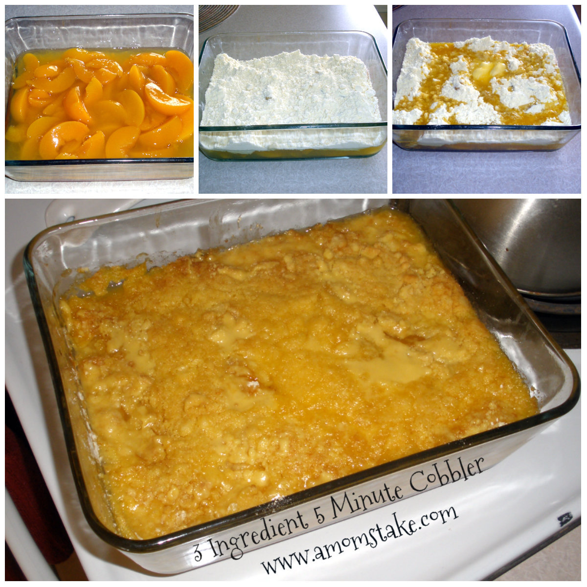 3 Ingredient Peach Cobbler with Cake Mix in 5 Mins Recipe A