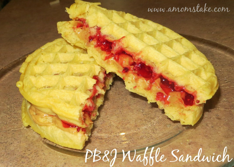 PB&J Waffle Sandwich Recipe at A Mom's Take #WaffleWeek
