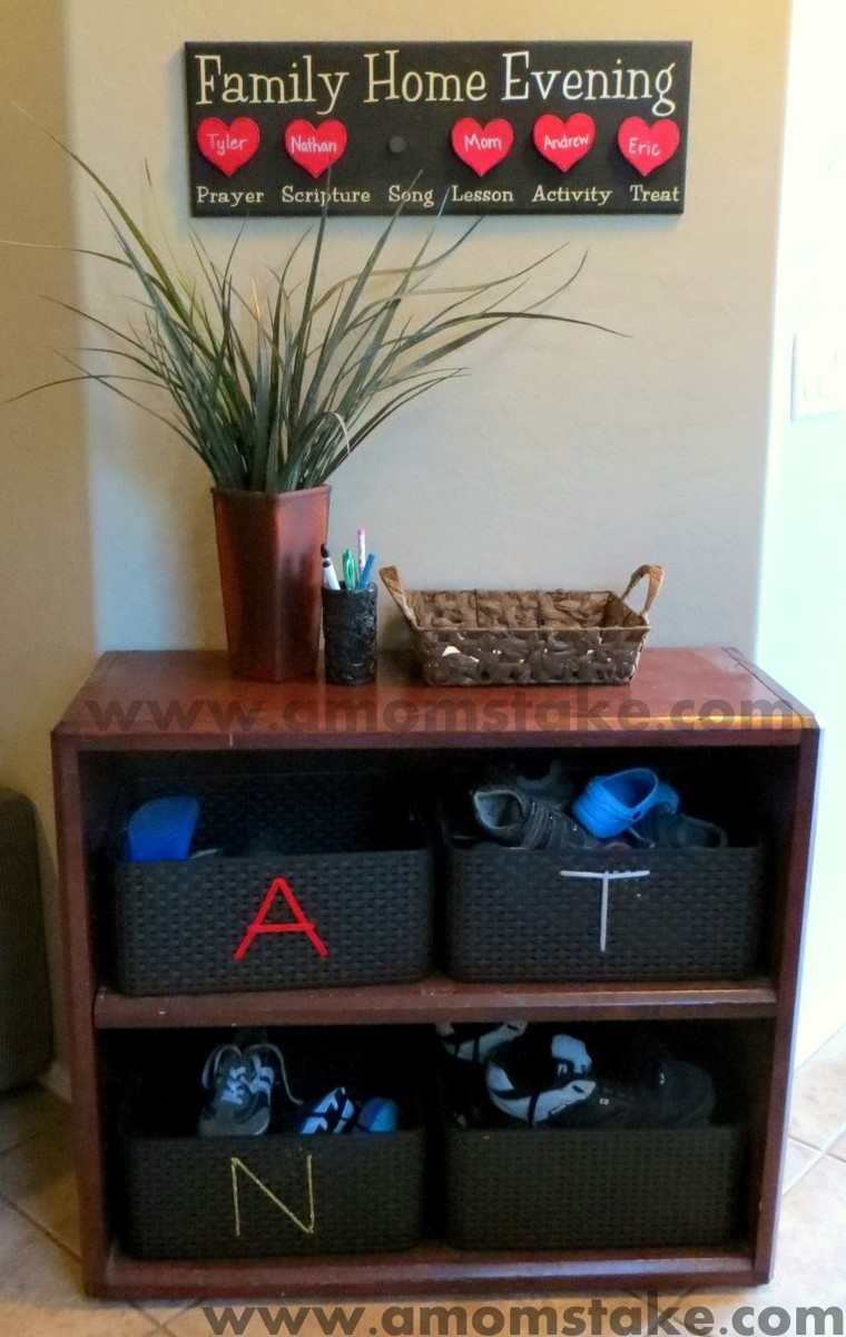 Homemade Shoe Shelf at A Mom's Take