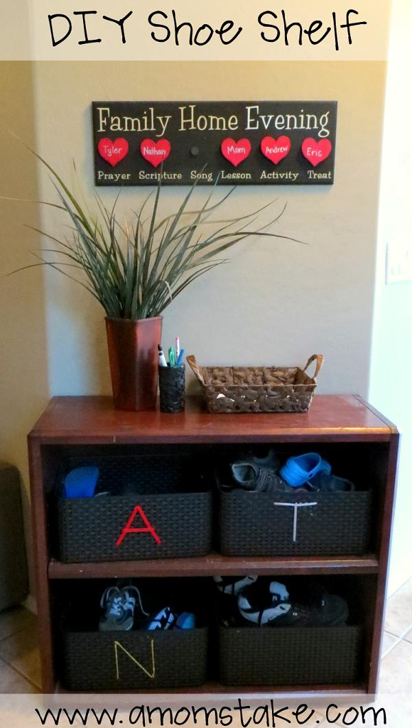DIY Shoe Shelf at A Mom's Take