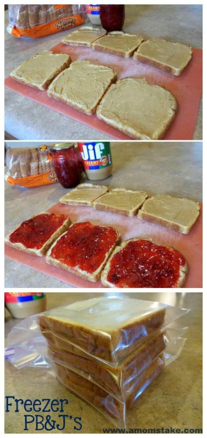 So fast and easy - make sandwiches in batch mode for a diy lunchables so quick freezer PB&J sandwiches to speed up school lunch prep!