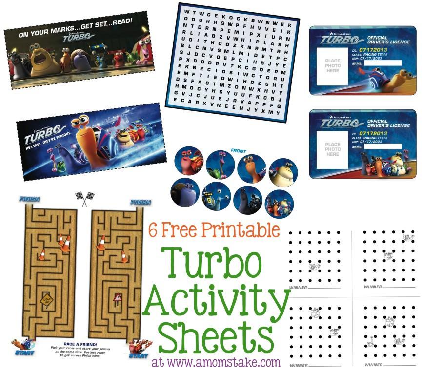 Turbo Activity Sheets
