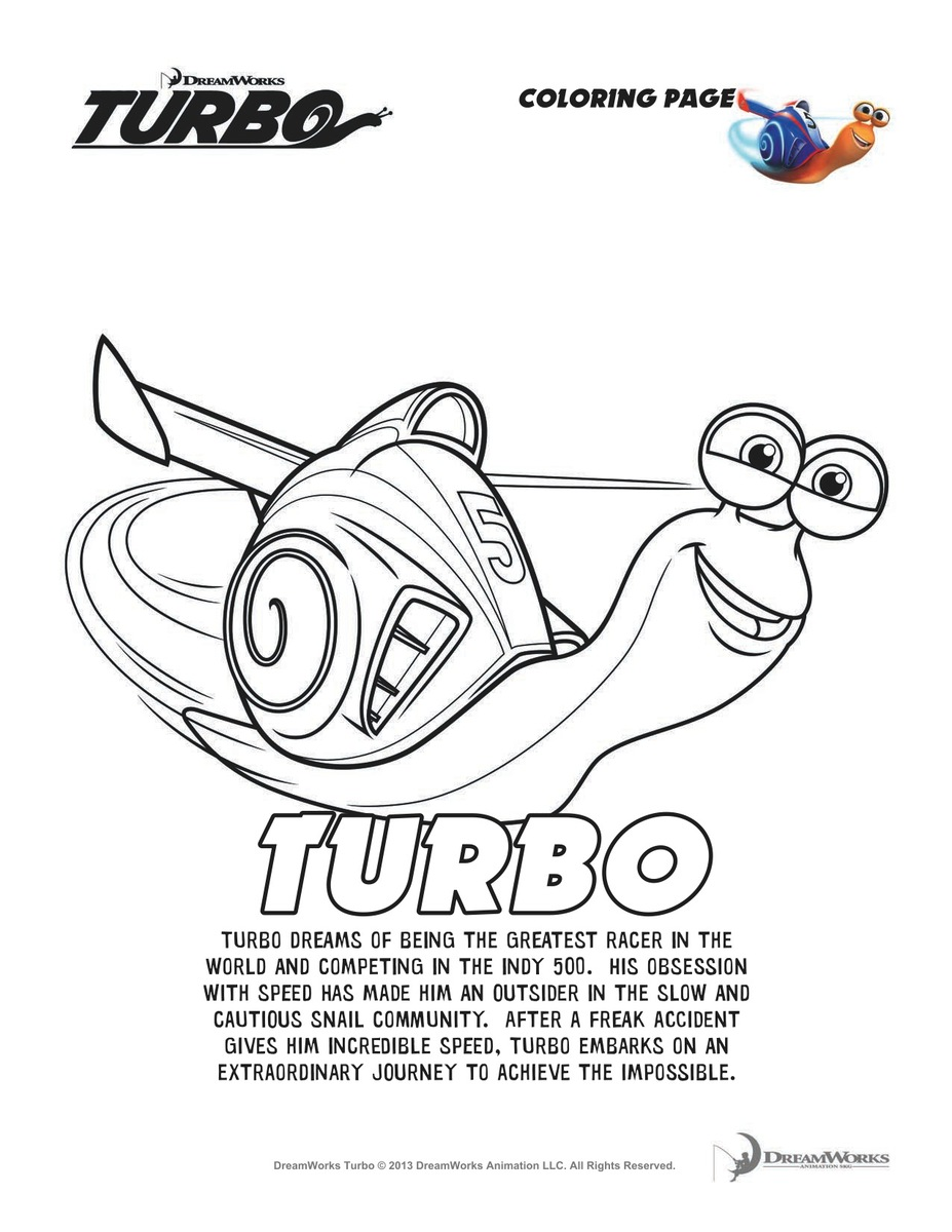 Turbo Coloring Page