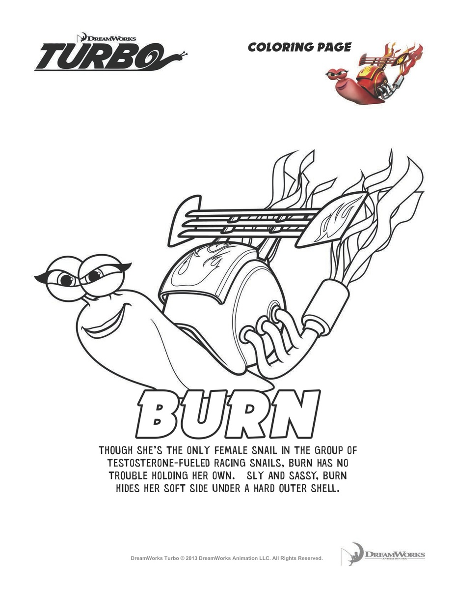 Burn from Turbo Coloring Page