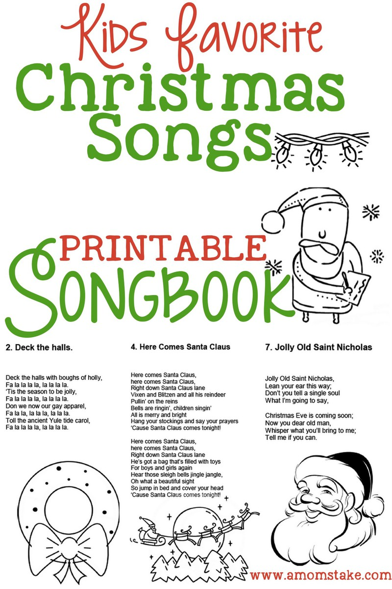 image about Christmas Caroling Songs Printable called Xmas Tunes for Children - No cost Printable Songbook! - A