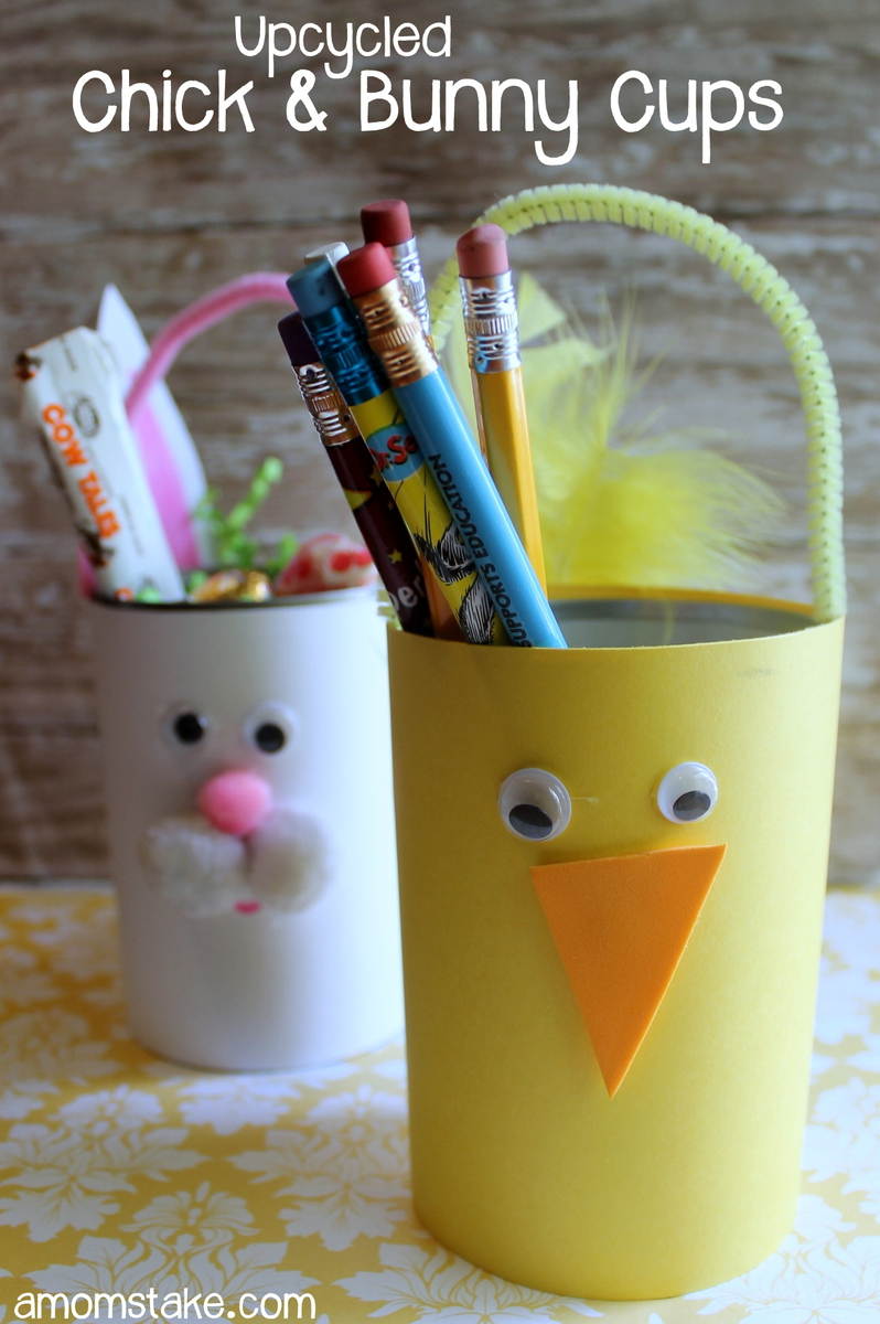 Upcycled Chick and Bunny Cups