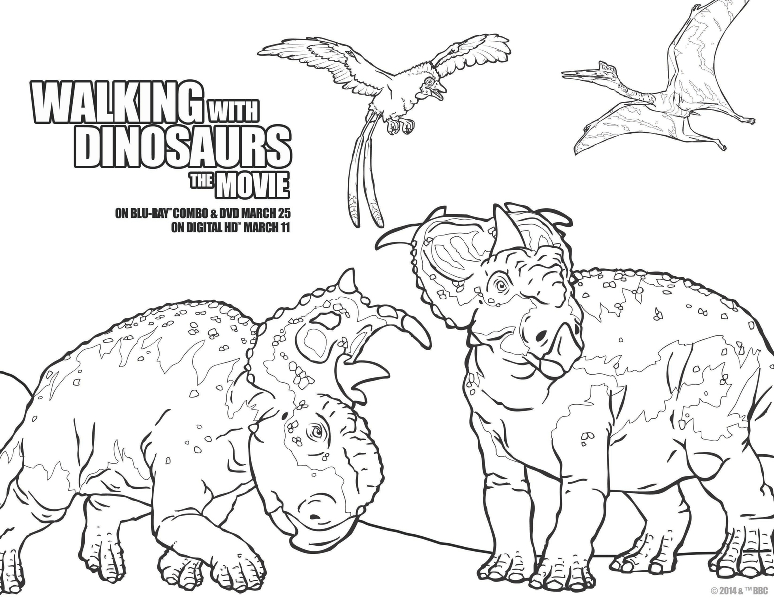 Walking with Dinosaurs coloring sheet