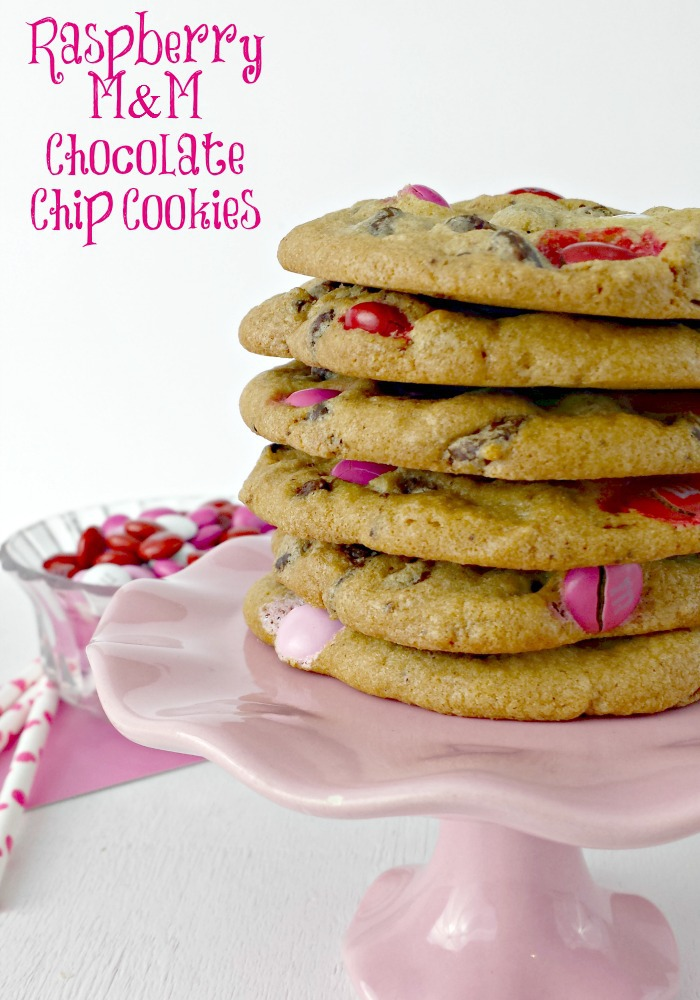 Raspberry M&M Chocolate Chip Cookies