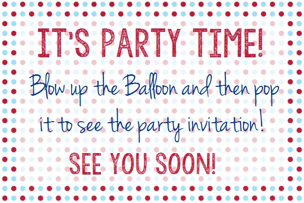 Balloon theme party invitation