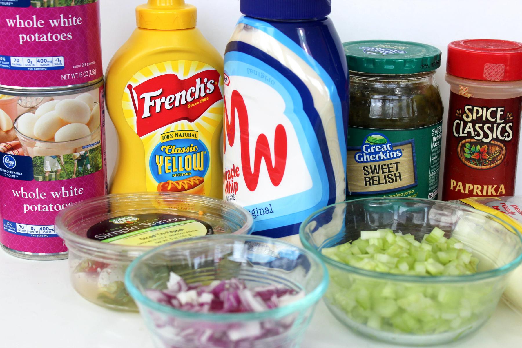 No Bake Potato Salad ingredients