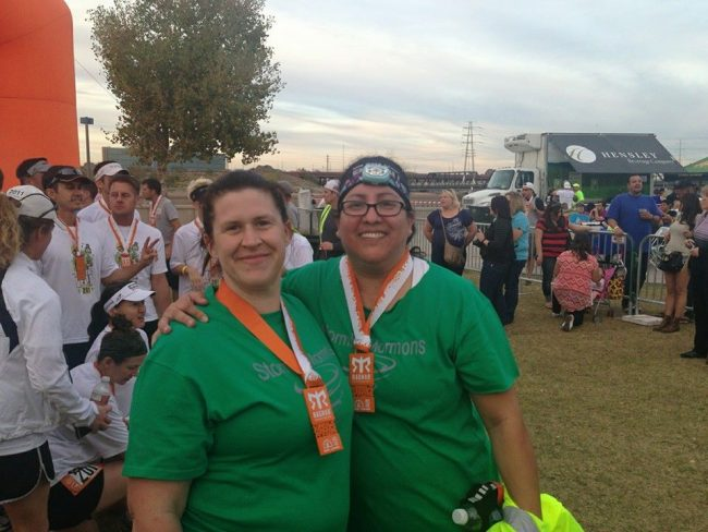 My friend Dennyse and I at the Finish Line, Ragnar Del Sol Feb 2014
