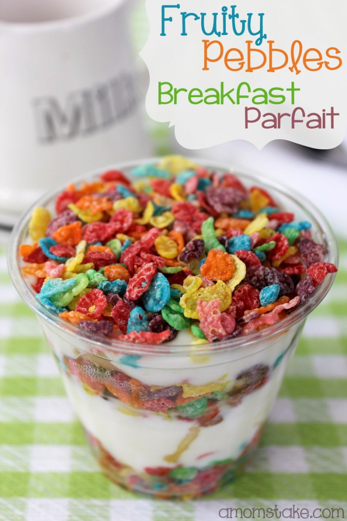 Easy, quick, sweet, delicious fruit pebbles yogurt parfait. No baking needed! Three simple ingredients of bananas, yogurt, and cereal. Delicious breakfast option for your family!