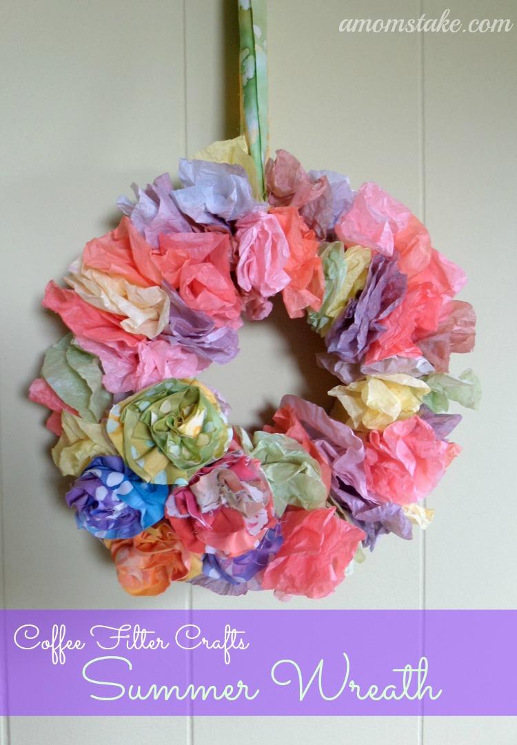 Coffee Filter Crafts - Summer Wreath