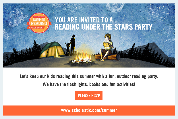 Reading under the stars party invitation