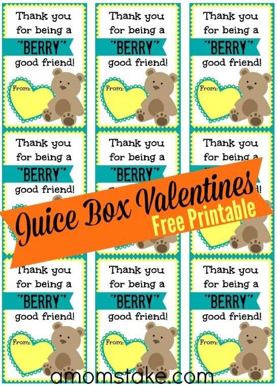 Berry Juice Box Printable Valentine