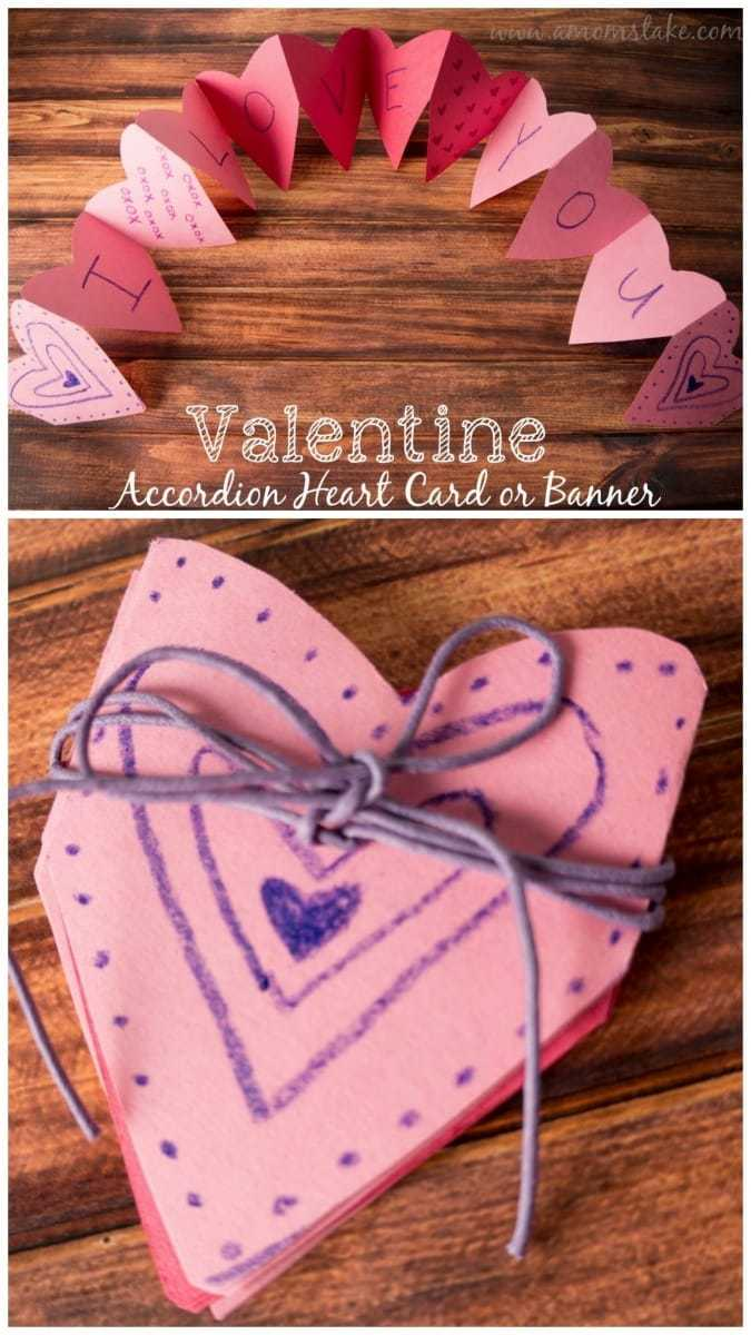 How to make an easy Valentine accordion hearts card.This is a really easy homemade Valentine's Day card to make that looks cute!