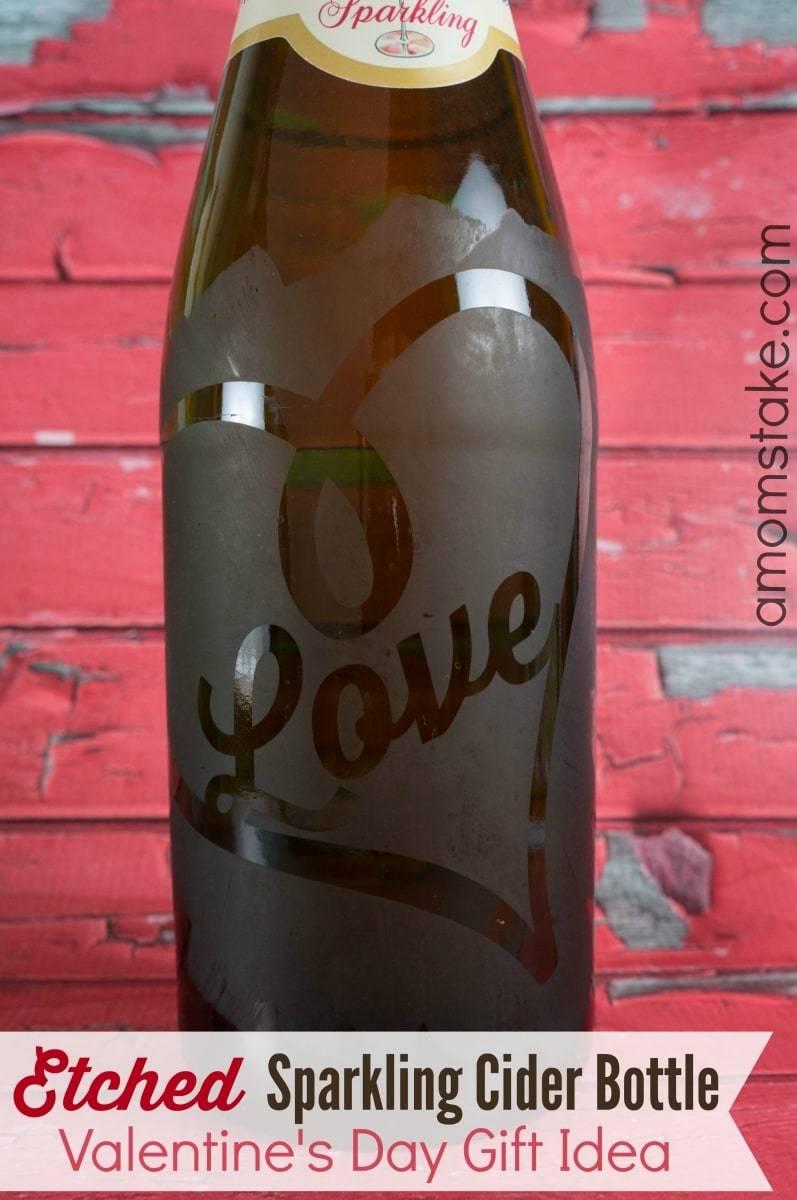 Etched Sparkling Cider Bottle