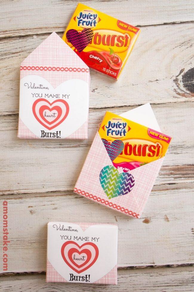 Heart Burst Bubble Gum Valentine