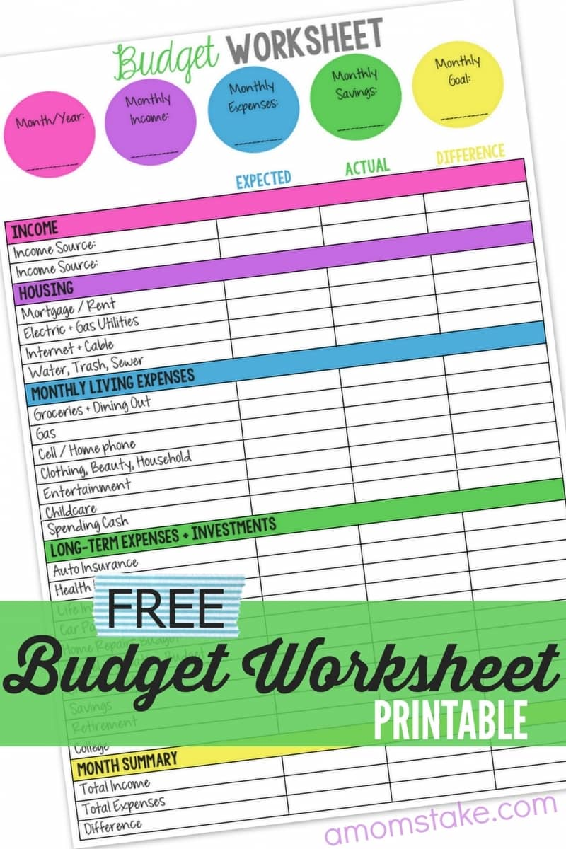 image relating to Printable Budget Planner named Spouse and children Finances Worksheet - A Mothers Get