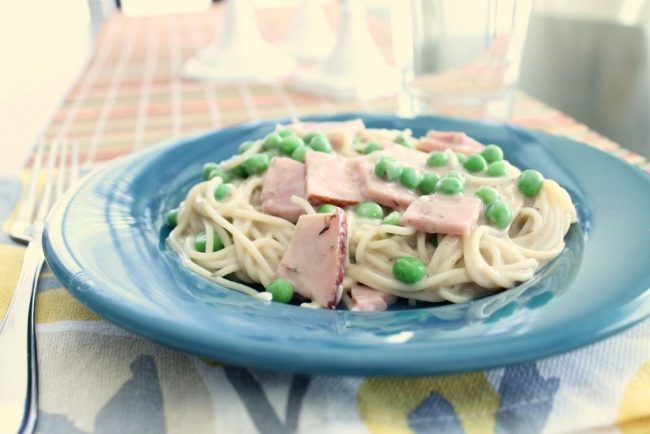 pasta with ham and cheese