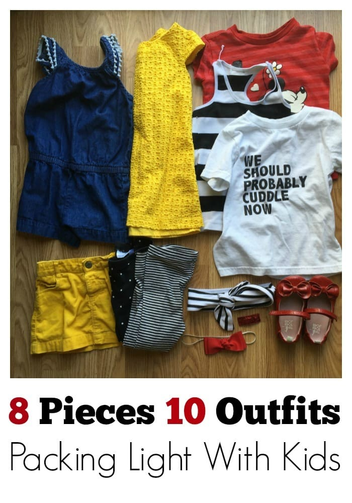 How to pack efficiently for trips by packing pieces that work perfectly for mix-n-match styling for kids! These 8 pieces let us make 10 different outfits. #style #packing #vacation #kids
