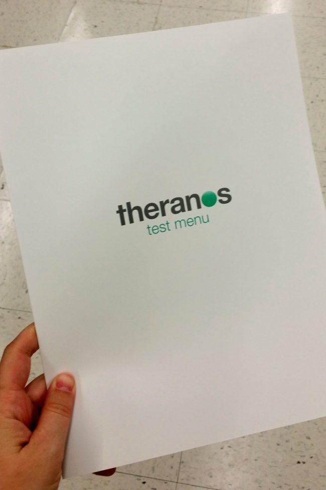 theranos menu