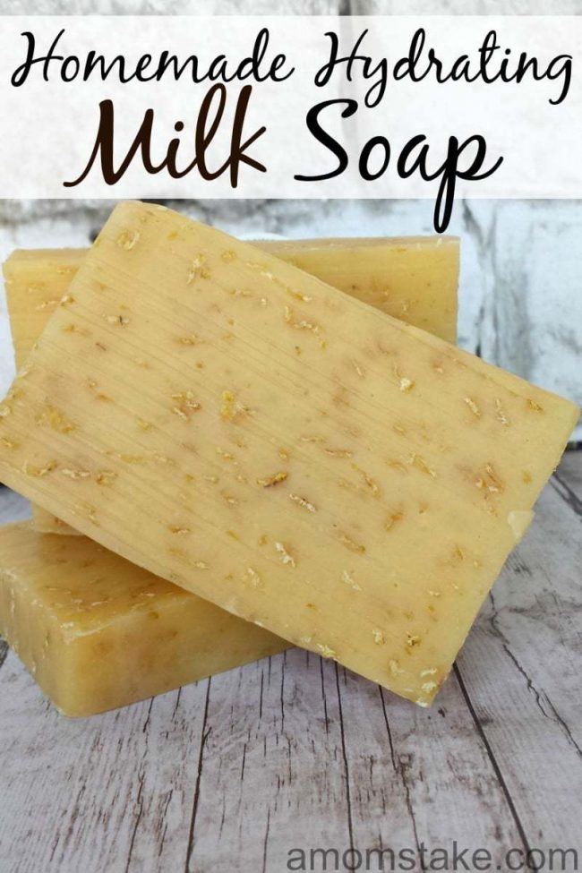 Homemade cow milk soap with oats