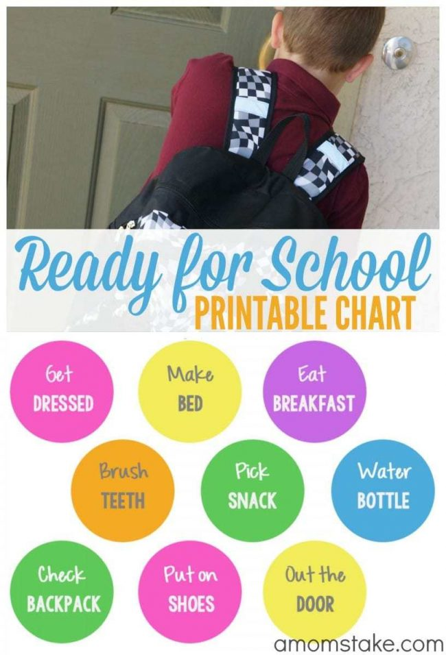 Ready for School Printable Chart