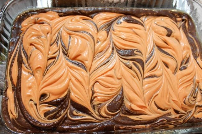 Cream Cheese swirled halloween brownies recipe
