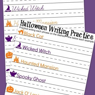 Halloween Cursive + Handwriting Practice Worksheets