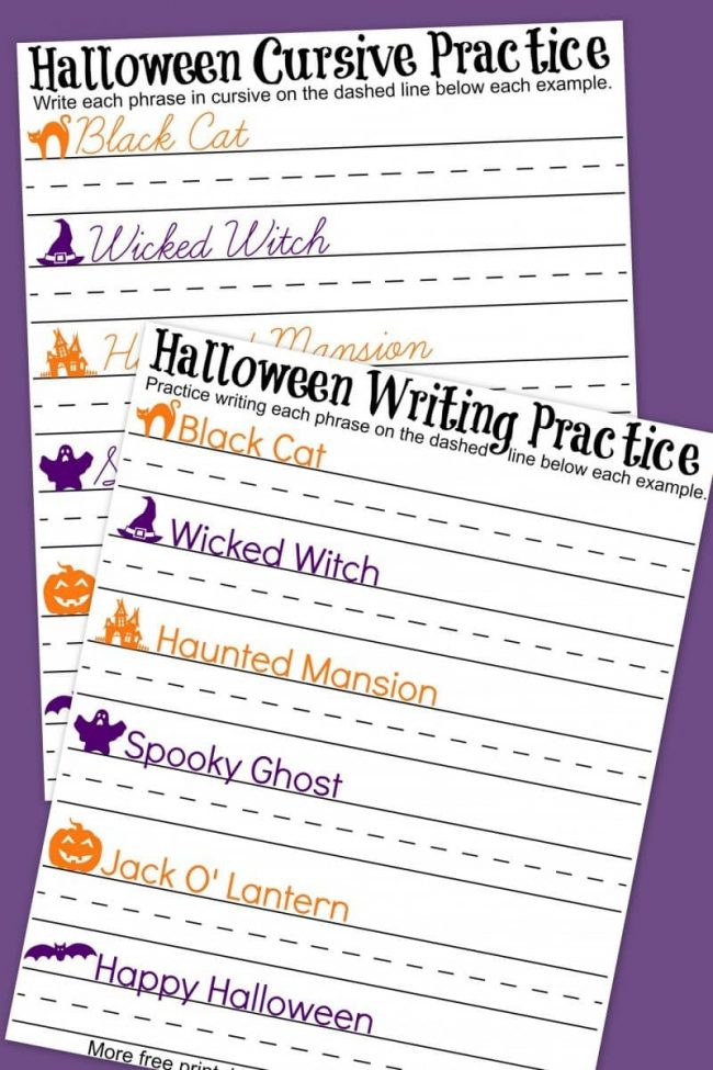 Free printable Halloween handwriting and cursive practice writing worksheets! Perfect way to blend holiday fun with learning. Great for preschool, kindergarten, 1st, 2nd, 3rd, or 4th grade students.