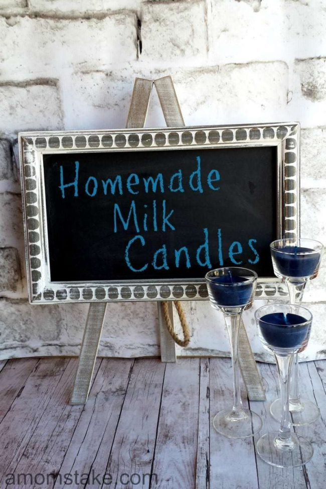 Homemade candles made from real milk