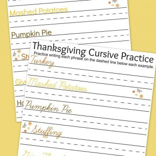 Thanksgiving Writing Practice Worksheets
