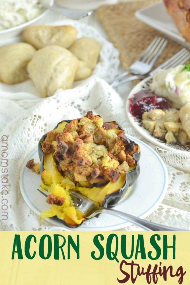 Bake stuffing in a acorn squash for a unique place setting and presentation of this yummy Thanksgiving side dish recipe.