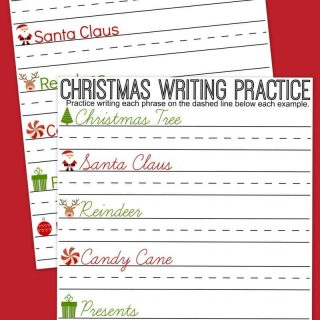 Christmas Writing Practice Sheets