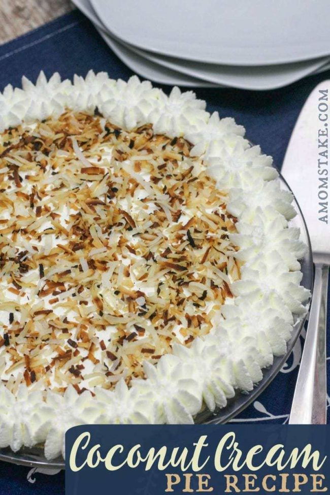 Coconut Cream Pie Recipe, with directions for a homemade pie crust, whipped topping, and the coconut cream filling. A perfect Thanksgiving pie!