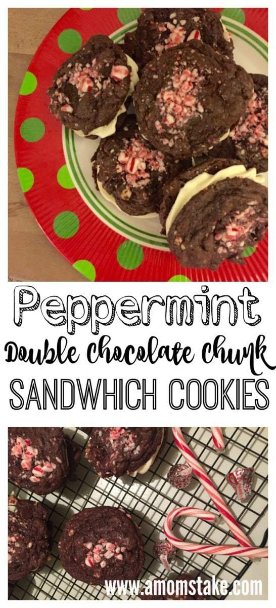 Peppermint Double Chocolate Chunk Sandwich Cookies for Christmas festivities! So rich and delicious!