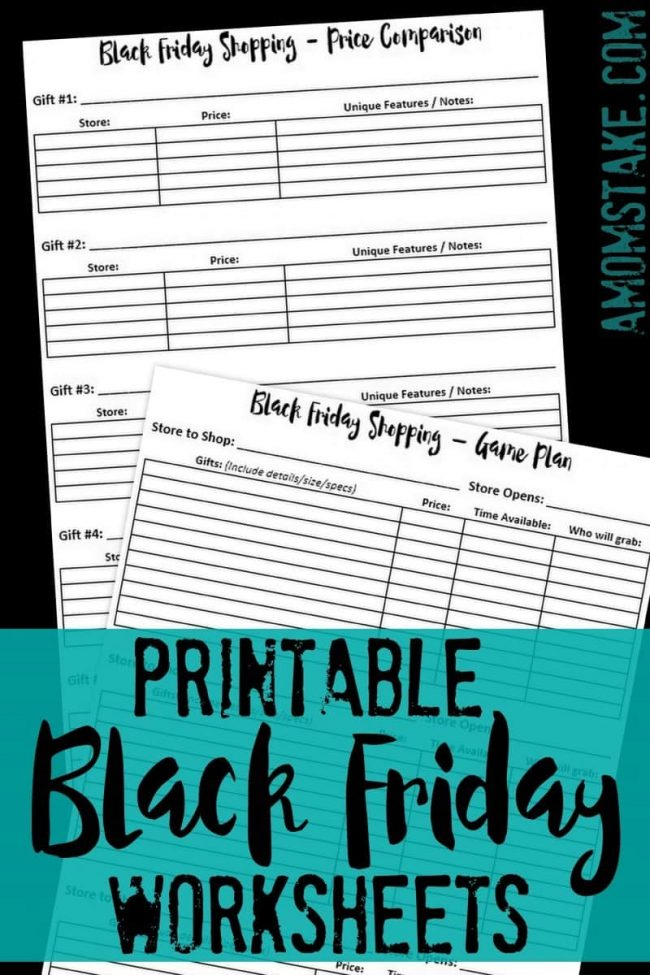 Printable Grab your copy of this free Black Friday Worksheets set! One to help you track and compare prices for whatever your shopping for and a store by store game plan to keep you on track so you don't forget your must  haves this Christmas!