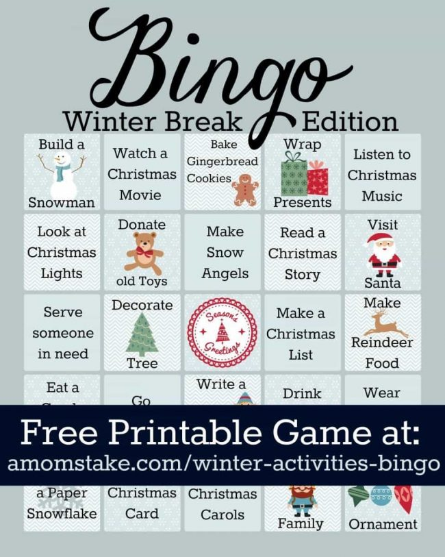 Winter Activities Bingo