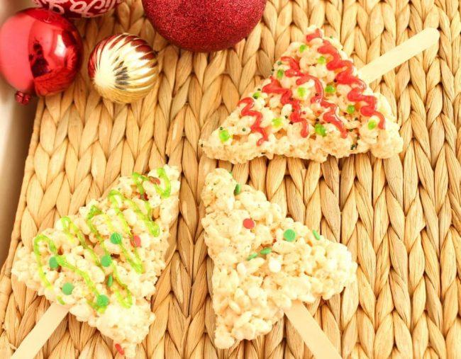 Christmas Tree Rice Krispie Pops