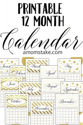 We're loving the shimmering gold in this printable 12 month calendar! Bonus: You can customize and reuse the calendar year after year! Great find for your New Year.