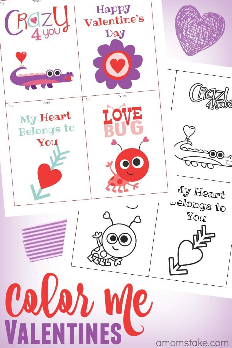 I love these coloring page valentine printables! Pick the color me or pre-colored cards and then print and share with the kids classroom this Valentine's Day!