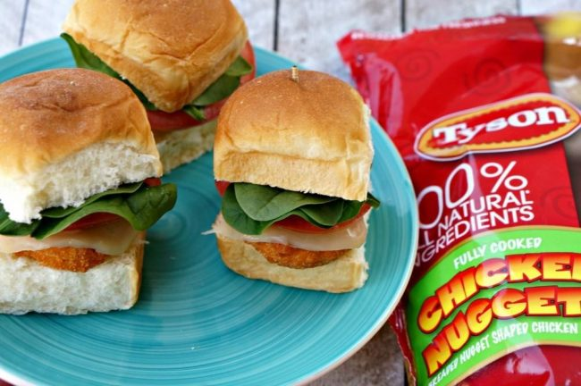 Chicken nugget sliders are the best and easiest appetizer or finger food for football game day, movie viewing parties or kid's lunch. Tyson Chicken makes these so easy and fast.