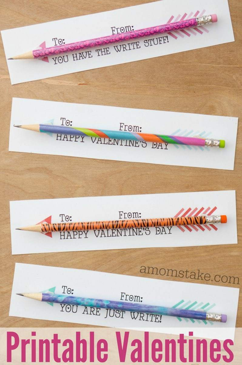 Pencil Arrows Printable Classroom Valentines